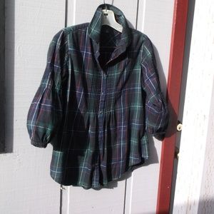 GAP green Plaid pleat front puff sleeves Shirt S